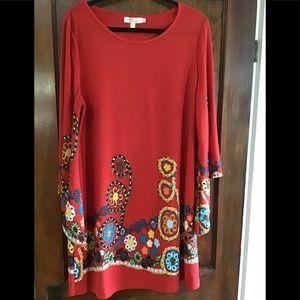 Red Aryeh Anthropologie Printed Bell Sleeve Dress